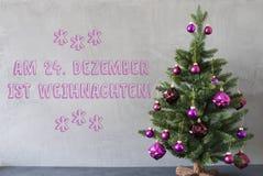 Trädet cementväggen, Weihnachten betyder jul Royaltyfria Bilder