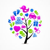 Trädet för logoaffärsabstrakt begrepp behandla som ett barn symbolen Arkivfoton