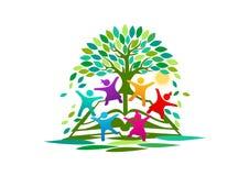 Trädet kunskap, logo, öppnar boken, barn, symbolet, ljus design för utbildningsvektorbegrepp