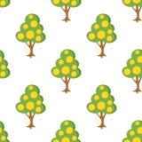 Trädet med frukter sänker den sömlösa modellen för symbolen Arkivfoton