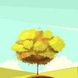 Trädet med rotar den Retro tecknad filmillustrationen vektor illustrationer