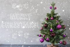 Trädet med snöflingor, cementvägg, smsar glad jul Arkivbild