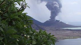 Trädet och askaen för den Rabaul Papua Nya Guinea vulkan fördunklar det tropiska lager videofilmer