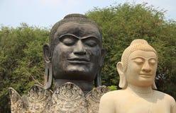 Trädet och historiskt parkerar med Buddhastatyn arkivbilder