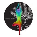 Trädet poserar, teckningen för handen för målning för vattenfärgen för chakraen för färg för Vrksasana yoga 7 Royaltyfri Fotografi