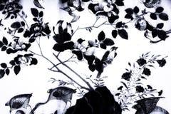 Trädfågel och blommakonstmålningar på tegelplattamodellväggen och svartvitt för färg som isoleras längs gallerierna av templet av royaltyfri bild