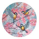 Trädfågelmes på en filial av sakura körsbärsröda blomningar på våren i cirkeln rund form Oljem?lning p? kanfas royaltyfri fotografi