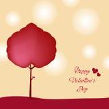 Trädförälskelse - lycklig dag för valentin` s Arkivfoto