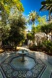 Trädgård av Bahia Palace i Marrakesh, Marocko Arkivbilder