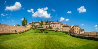 Trädgård av den berömda basilikan av St Francis av Assisi, Umbria, Italien royaltyfria foton