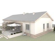 Trädgård av det klassiska huset med terrassen Arkivfoto
