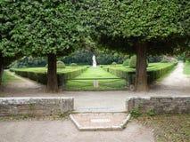 Trädgård av Horti Leonini. San Quirico, Tuscany Royaltyfri Bild
