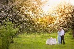 Trädgård för familj på våren Arkivbild