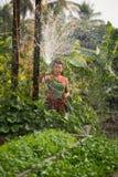 Trädgård för hem för kvinnasprejvatten Arkivfoto