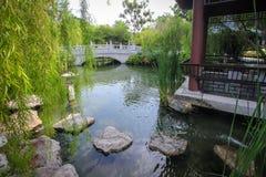Trädgård för kinesisk stil med paviljongen och dammet Arkivbilder