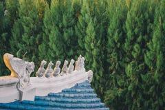 Trädgård för tre kungariken på Pattaya: Takdetalj royaltyfri foto