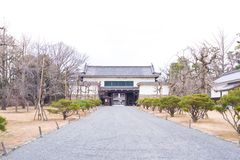Trädgård i den Ninomaru slotten på den Nijo slotten i Kyoto Arkivfoton