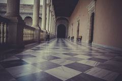 Trädgård inomhus slott, Alcazar de Toledo, Spanien Royaltyfri Fotografi