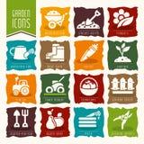 Trädgård - lantgårdsymbolsuppsättning stock illustrationer