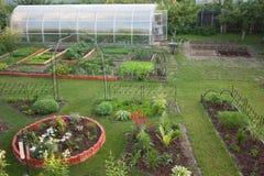 Trädgård med rabatter gräsmatta och växthus Arkivfoton