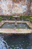 Trädgård med vatten royaltyfria foton