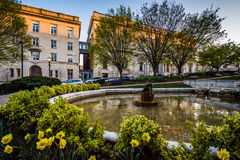 Trädgård och springbrunnar på en parkera och byggnader i Mount Vernon, B royaltyfri bild