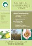 Trädgård och underhållsreklambladmall Arkivbilder