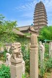 Trädgård på den Jianfu templet med den lilla lösa gåspagoden i bakgrunden porslin xian royaltyfri bild