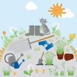Trädgård vårillustration Royaltyfri Foto