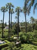 Trädgårdar av alcazaren av Seville, Spanien Arkivfoton