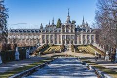 Trädgårdar av den kungliga slotten av La Granja de San Ildefonso drar tillbaka s Royaltyfria Bilder