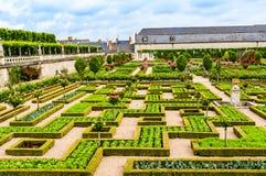 Trädgårdar av slotten av Villandry på Loire Valley område i franc royaltyfri fotografi