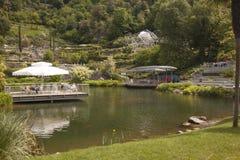 Trädgårdar för för Trauttmansdorff slottMerano Italien blommor och orkidér Arkivbild