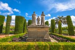 Trädgårdar i alcazaren Cordoba royaltyfri fotografi
