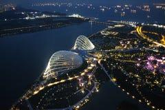 Trädgårdar i Singapore på natten Arkivbild