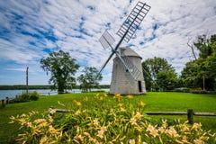 Trädgårdar och Jonathan Young Windmill, i Orleans, Cape Cod, M royaltyfria foton