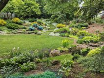 Trädgårdar på historiska Roscoe Villege royaltyfria foton