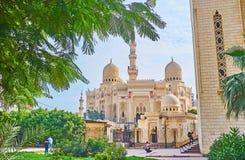Trädgården av moskékomplexet, Alexandria, Egypten Arkivfoto