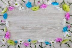Trädgården blommar sammansättning på den vita trätabellen med kopieringsutrymme royaltyfri bild