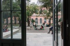 Trädgården för universitet` s verkar från inre av byggnaden 28 September 2017 Ä°n Istanbul Turkiet Royaltyfri Bild