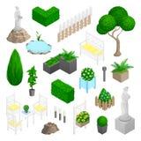 Trädgården parkerar landskapbeståndsdelar stock illustrationer