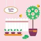 Trädgården shoppar banret royaltyfri illustrationer