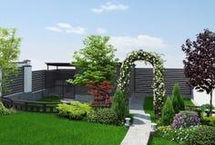 Trädgården som definierar områden, 3d framför Arkivbilder