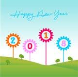 Trädgårdmall för lyckligt nytt år Vektorillustratör EPS 10 stock illustrationer
