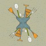 trädgårds- arbeta i trädgården springtimehjälpmedel Royaltyfri Illustrationer