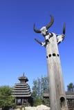 Trädgårds- arkitektur för kines Arkivbilder