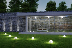 Trädgårds- arkitektur vid natt arkivfoton