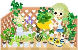 Trädgårds- balkong royaltyfri illustrationer