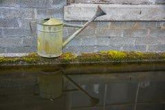 Trädgårds- bevattna kan reflekterat i vatten royaltyfria bilder