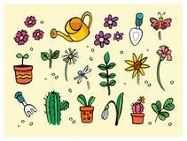 Trädgårds- blommahjälpmedel och växter Royaltyfri Illustrationer